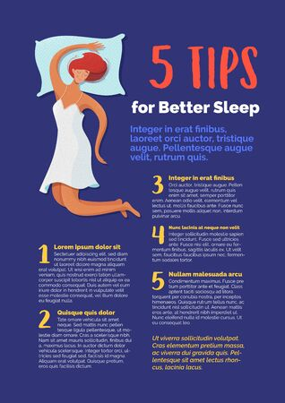 5 tips for better sleep banner vector template. Sleeping woman cartoon character. Journal page with flat illustrations. Medical magazine article. Flyer, brochure, poster design idea