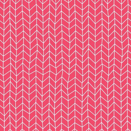 Knitted hand drawn seamless pattern. Pen freehand line art. Ilustração Vetorial