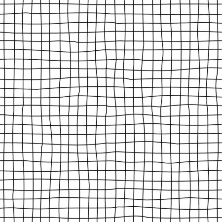 Checkered hand-drawn seamless pattern. Irregular vertical and horizontal lines doodle drawing. Ilustrace