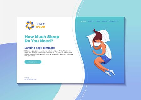 How much sleep do you need landing page vector template. Healthy sleep recommendations web banner, homepage with flat illustrations. Relaxing girl wearing pajamas cartoon character