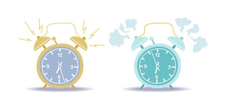 Ringing alarm clocks vector illustrations set. Cartoon timepieces color drawings pack. Morning, forenoon, wake up time, awakening concept. Alert, deadline. Bedroom vintage watches collection