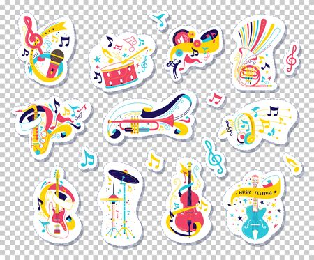 Musical instruments and notes vector illustrations set. Doodle orchestra attributes stickers isolated on transparent background. Melody, music, performance concept. Cartoon band items collection