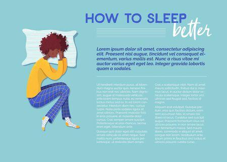 Comment mieux dormir modèle vectoriel de bannière. Femme endormie sur le personnage de dessin animé d'oreiller. Article de revue de conseil. Page de magazine avec des illustrations plates. Flyer, brochure, idée de conception d'affiche