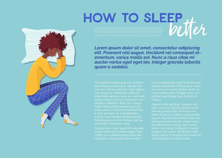 How to sleep better banner vector template. Sleeping woman on pillow cartoon character. Advice journal article. Magazine page with flat illustrations. Flyer, brochure, poster design idea