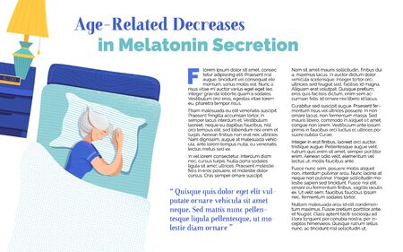 Age-related decreases in melatonin secretion banner template. Sleeping gray hair woman cartoon character. Healthy recommendation for senior people article. Magazine page with flat illustrations