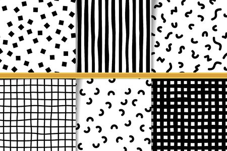 Set of abstract hand drawn monocolor seamless patterns. Monochrome backgrounds irregular geometric shapes. Hand drawn lines and memfis backdrops. Fabric flaps, textile patches collection. 向量圖像