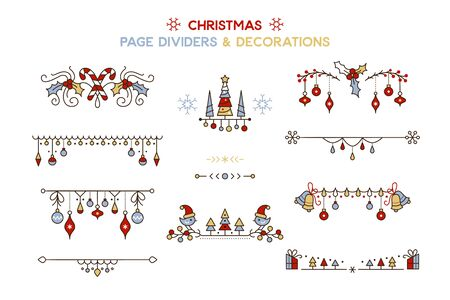 Christmas color vector decorative borders set. Winter season holiday cartoon page dividers isolated pack. New year festive decor for greeting card. Xmas tree hanging baubles design elements