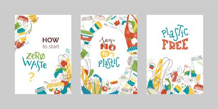 Zero waste flat vector banners set. Eco products in recyclable packages, reusable containers and organic nutrition, hygiene items and eco bags, vegetables and fruits isolated on white background