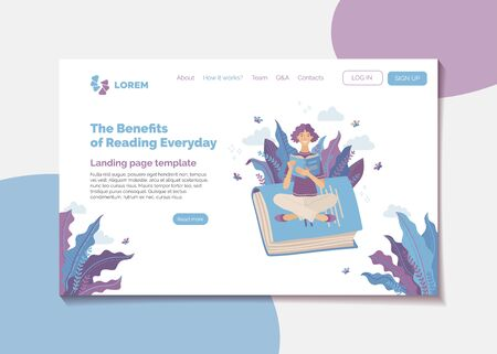 The benefits of reading every day banner. Self education and intellectual development landing page. Young smiling woman reading book outdoor vector illustration. Knowledges and thinking skills 向量圖像