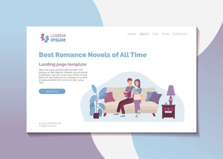 Best romance novels of all time landing page template. Top rated literature books web banner. Young enamored couple reading book together vector illustration. Literary club review, bookstore guide.