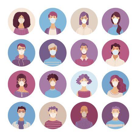 Kobiety i mężczyźni noszący zestaw ikon maski oddechowe bezpieczeństwa. Respiratory i maski medyczne. Choroba, grypa, koronawirus COVID-19, zanieczyszczenie powietrza, alergie. Wektor płaskie portrety młodych i starszych ludzi.