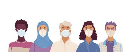 Multicultural group of people wearing disposable medical masks together. International corona virus protection and epidemic prevention vector illustration. Global self-isolation and quarantine.