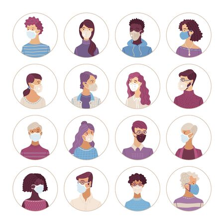 People icons set. Women and men wearing safety breathing masks. Respirators and medical masks. Disease, flu, coronavirus 2019-nCoV, air pollution. Vector flat portraits young and aged in circles