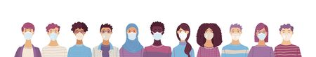 Multicultural group of people wearing medical masks to prevent disease. International corona virus protection and epidemic prevention vector illustration. Global self-isolation and quarantine poster.