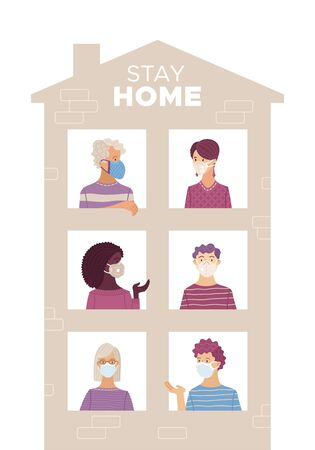 People wearing medical masks at home. Stay at home motivational concept. Coronavirus protection and prevention. People look out of house windows. Self-isolation and quarantine cartoon illustration.