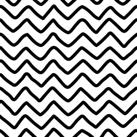 Hand drawn zigzag seamless pattern. Irregular horizontal thick lines texture. Ink pen freehand line art. Fabric, textile, wrapping paper, wallpaper minimalistic design