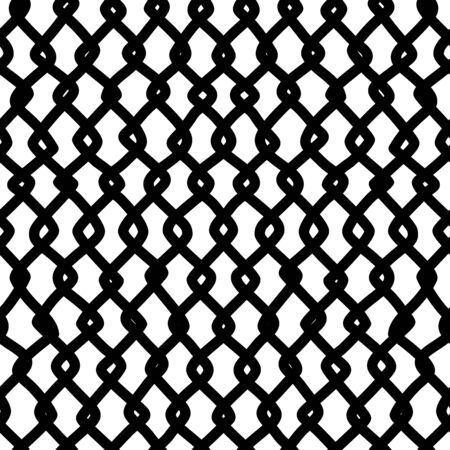 Twisted freehand lines seamless pattern. Ink hand-drawn irregular thick strokes line art. Monochrome vector texture. Wallpaper, textile, surface design. Monocolor digital paper for textile print.