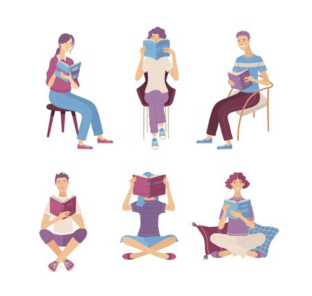People reading books while sitting on floor and in chairs. Happy young men and women holding books characters in cartoon style. Satisfied literary fans and book lovers isolated vector illustration.