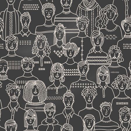 Chalk diverse crowd of people on blackboard background. Society and population. Social community seamless pattern in linear style. Hand-drawn fabric, textile, wrapping paper, wallpaper vector design