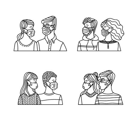 Diversity couples wearing safety breathing masks. Respirators and medical masks. Protection from disease, flu, coronavirus COVID-19, air pollution, and allergy. Vector outline illustration. Ilustração