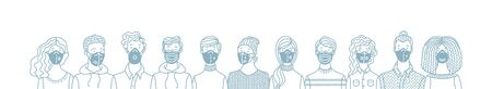 Group of people wearing safety breathing masks. Respirators and medical masks. Protection from disease, flu, coronavirus COVID-19, air pollution, allergies, dust. Vector outline banner concept. Ilustração