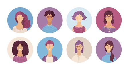 Happy multicultural people avatars set. Smiling men and women profile pictures. Cute different human face icons for representing person vector illustration. User pic for internet forum or web account Ilustração