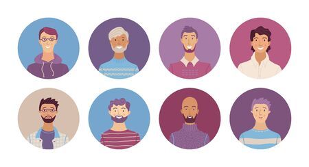 Happy multicultural people avatars set. Smiling young, adult and senior men profile pictures. Different human face icons for representing person vector illustration. User pic for web forum or account