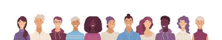 Multicultural group of happy people. Smiling adult men and women standing in row together. International community concept with diverse students vector illustration. Cultural and religion equality. Ilustração
