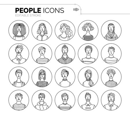 Vector set of user avatars. Outlined minimalistic icons. Various face icons for representing a person. User pics for internet forum or web account. Men and women portraits set. People profile pictures