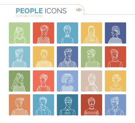 Linear people portraits set. Vector user avatars. Outlined minimalistic icons. Men and women portraits set. People profile pictures. Cartoon avatars for game, internet forum, or web account