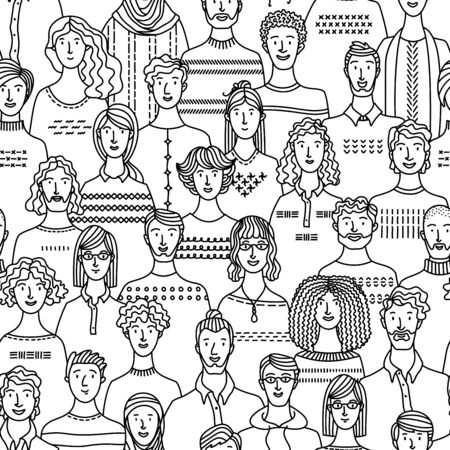 Seamless pattern of diverse people group. Linear crowd boundless background with various men and women. Social community vector outline illustration.