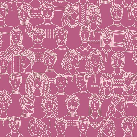 Crowd of various men and women in linear style. Vector boundless background with various people. Textile, fabric, wrapping paper, wallpaper duotone vector design Ilustração