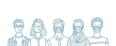 Women and men wearing safety breathing masks. Respirators and medical masks. Protection from disease, flu, coronavirus COVID-19, air pollution, allergies, dust. Vector outline portraits.