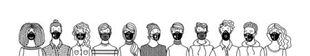 Multicultural group of people wearing disposable medical masks together. International corona virus protection and epidemic prevention outline vector illustration. Global self-isolation and quarantine.