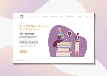The 20 best books for teachers landing page template. Top rated books for professional teacher development and career growth. Young smiling woman and man reading books cartoon vector illustration.