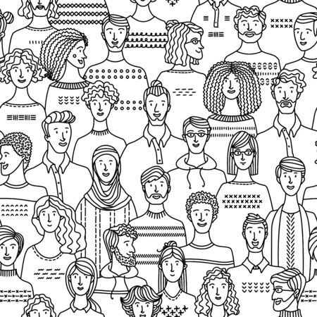 Diverse crowd of people. Society and population. Social community seamless pattern in linear style.  Mono color fabric, textile, wrapping paper, wallpaper vector design. Black and white