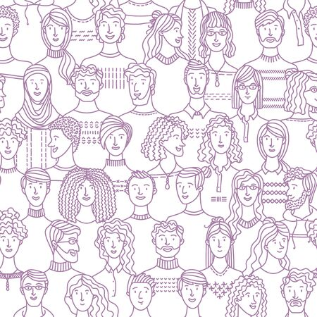 Diverse group of men and women standing together. Social community. Diverse people group. Textile, fabric, wrapping paper, wallpaper mono color vector design