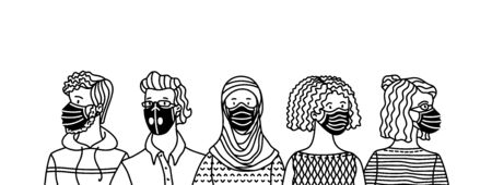 People wearing safety breathing masks. Respirators and medical masks. Protection from disease, flu, coronavirus COVID-19, air pollution, allergies, dust. Vector outline banner concept. Ilustração