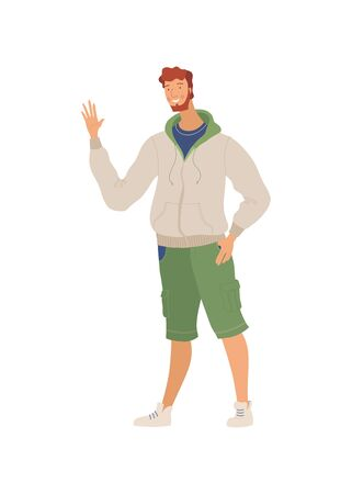 Smiling man in casual clothes flat vector illustration. Positive emotion, good mood, greeting gesture. Posing young guy, man waving hand cartoon character isolated on white background Ilustração