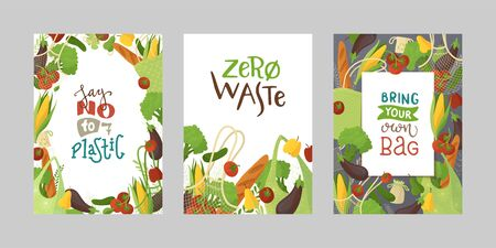 Veggies in recyclable packages vector banners set. Textile reusable shopping bags with fresh greens flat illustrations. Blank vegetable borders collection. Healthy produce in eco handbags