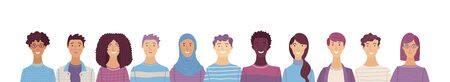 Group portrait of diverse people. Smiling men and women standing together. Web banner with happy students or work team. Flat cartoon vector multi-ethnic poster. Caucasian, African, Asian, Muslim