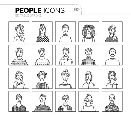 Vector set of user avatars. Linear minimalistic icons. Men and women portraits set. People profile pictures. Various face icons for representing a person. User pic for internet forum or web account
