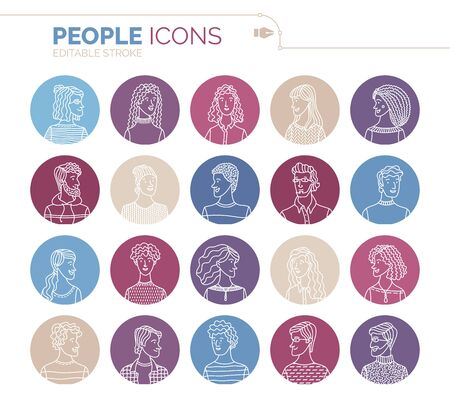 Linear people icons set. Vector user avatars. Outlined minimalistic icons. Men and women portraits set. People profile pictures. Cartoon avatars for game, internet forum, or web account