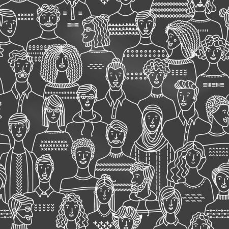 Crowd of various men and women in linear style. Vector blackboard background with various people. Chalk textile, fabric, wrapping paper, wallpaper duotone vector design