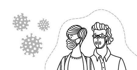 Young couple wearing disposable medical masks. Coronavirus protection and prevention. Self-isolation and quarantine outline vector illustration. Protect yourself from virus infection concept