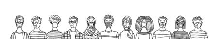 Multicultural group of people wearing medical masks to prevent disease. International corona virus protection and epidemic prevention vector outline illustration.