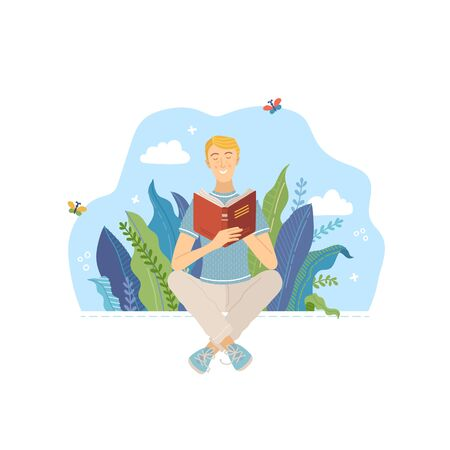 Young man reading book outdoor. Spending summertime weekend at nature with book vector illustration. Boy relaxing and studying in park. Literature hobby and happy lifestyle.