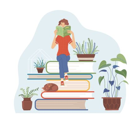 Woman sitting on books pile and reading a book about gardening. Young girl is book lover. Houseplants, flowers in pots flat vector illustration. Greenery, domestic flowers design isolated on white