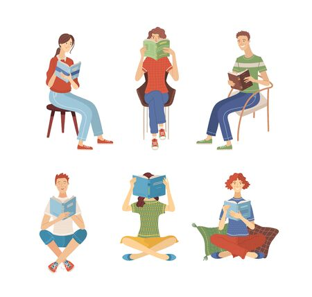 People reading books while sitting. Happy young men and women holding books characters in flat cartoon style. Students studying. Isolated vector illustrations. Set of literary fans.