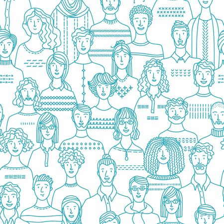 Diverse people group. Linear crowd textile, fabric, wrapping paper, wallpaper mono color vector design. Blue and white illustration of various men and women. Vector contour design. Ilustração